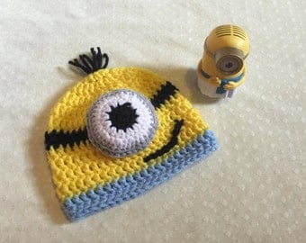 Minion Inspired Beanie/Minion Costume/Halloween costume/Minion Baby/Crochet Baby Boy/Baby Girl/Toddle/Child/Adult/Made to order