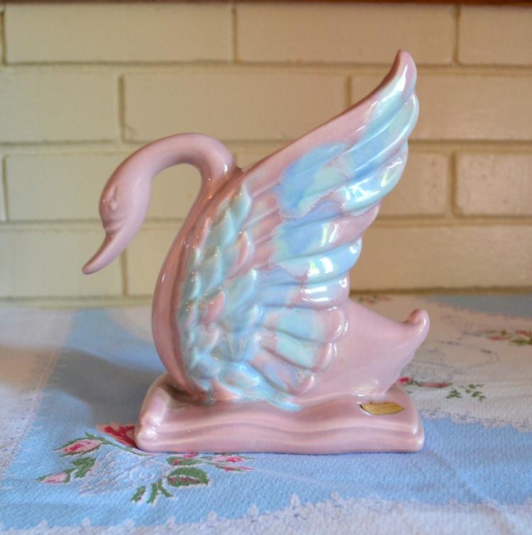 Vintage Royal Haeger Swan Vase Pink And Blue By Upswingvintage