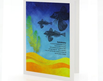 Kumukumu illustration. A6 greeting card with envelope – New Zealand native fish series.