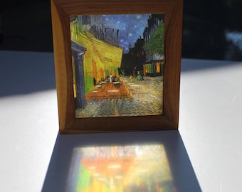 Vincent Van Gogh Cafe Terrace at Night Translucent Handmade Lightbox! See-through art that glows in natural light