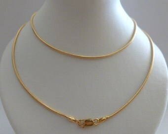 """18ct 18k Gold Snake Rope Chain Necklace 750 Solid Gold Snake Chain 1.1 mm Yellow,White Men Women 18"""" 20"""" 22"""" 24"""" 26"""" 28"""" 30"""" Custom N112"""