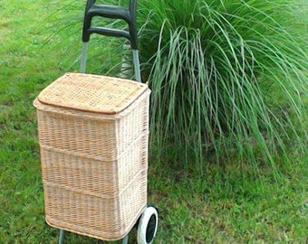 Wicker Shopping Trolley, Wicker Shopping Basket Trolley, Willow Shopping Basket Trolley, Wicker Shopping Bag on Wheels, Wicker Shopping Cart
