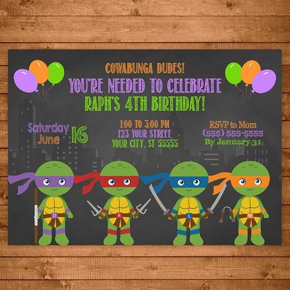 Teenage Mutant Ninja Turtles Invitation Chalkboard Illustrations -- TMNT Invite -- Ninja Turtles Birthday -- TMNT Party Favors