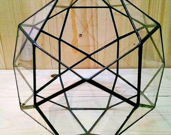 Small terrarium icosidodecahedron, Stained glass terrarium, Glass decoration, Planter for indoor gardening, Geometric terrarium