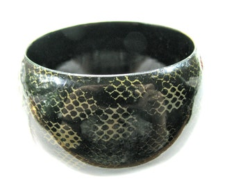 Bangle bracelet, painted wood bracelet, black with white pattern, 1 and 1/2 inch wide, wood bracelet
