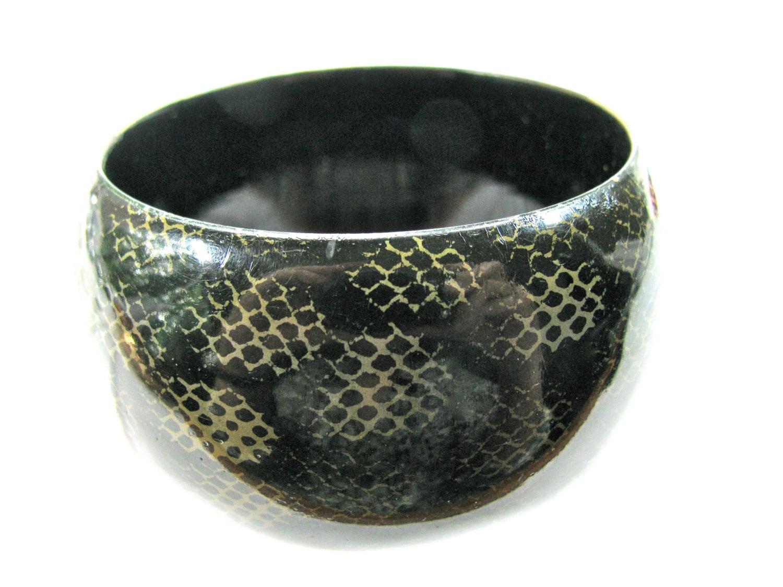 Bangle bracelet painted wood bracelet black with white