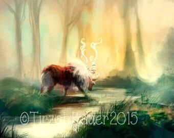 Red Deer - Art Print