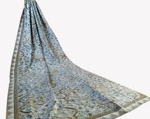 Floral Natural Dyed Indigo Handwritten Indonesia Batik Fabric, Indonesia Batik Sarong, Indigo Blue Cotton for Sewing, Dress, Kimono
