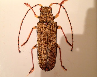 Ceramic Tile Painting. Original. Golden Longhorn beetle bug creepie crawley insect plaque