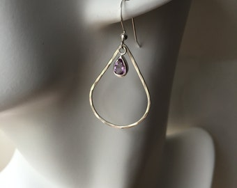 Purple Amethyst Earrings, Silver Teardrop, Hammered Sterling Silver, silver and amethyst earrings, february birthstone