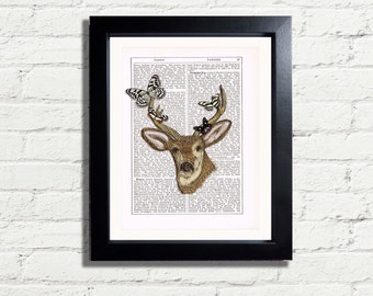 Stags Head Woodland Animal Deer Colour Butterflys Instant DIGITAL DOWNLOAD Repro Vintage Style Dictionary Page  Wall Art Home Decor Picture