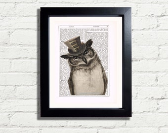 Owl Wise Old Steampunk Bird Top Hat INSTANT DIGITAL DOWNLOAD Quirky Antique Style Wall Art Printable Dictionary Style Picture Home Decor