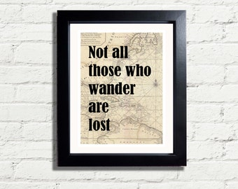 Not All Who Wander Are Lost Tolkien Quote Vintage Old Map INSTANT DIGITAL DOWNLOAD 300 dpi Art Print  Archival Antique Style Wall Hanging