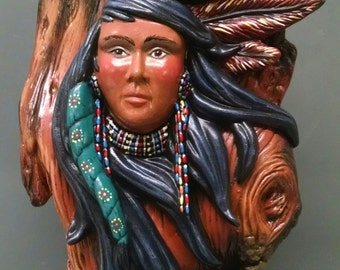 SALEWind Maiden on Knotted Wood--Native American Indian Figurine--Heirloom Quality--Hand-painted Ceramic--Home Decor--Native American Art