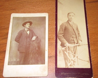 2 Antique Photos Young Men - Newport Panel - Brittingham