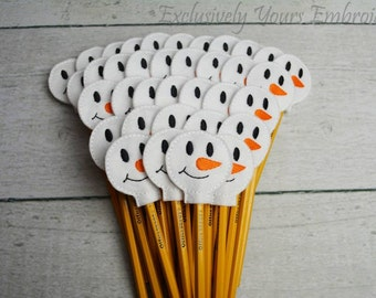 Snowman Pencil Toppers - Classroom Prizes - Party Favor - Party Supplies - Small Gift - Back to School