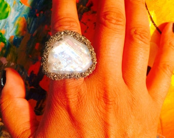Rainbow Moonstone and Pyrite Ring