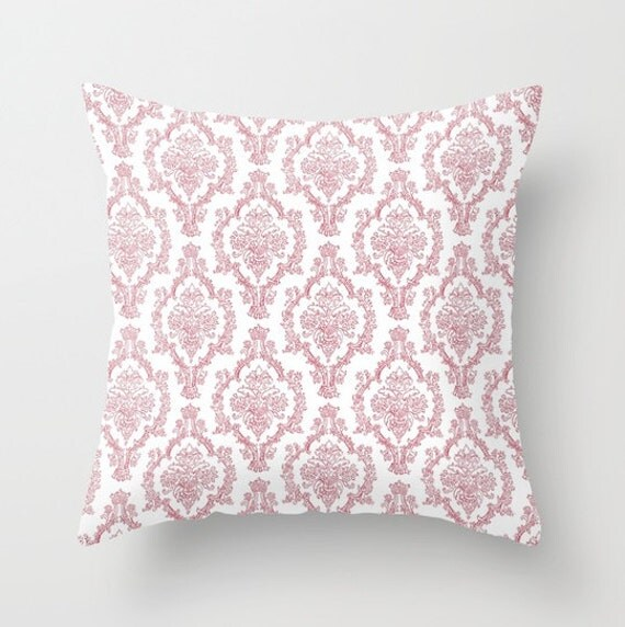 Light Pink Ruffle Throw Pillow : Light Pink Damask Throw Pillow Cover by EclecticFolkShop on Etsy