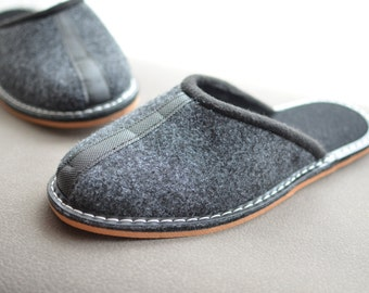 Gray felt slippers, man slippers, man shoes, man indoor shoes.