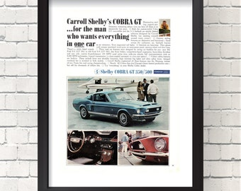 Ford Carroll Shelby's COBRA GT 350/500 Vintage Retro Print Ad 1960s