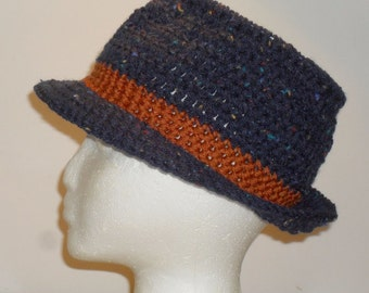 Fedora Hat  Blue Tweed with Auburn Band