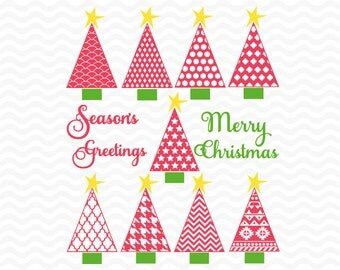 Christmas tree svg, with sentiments, SVG, DXF, EPS, vinyl cut files, use with Silhouette Studio and Cricut Design space. Christmas svg files