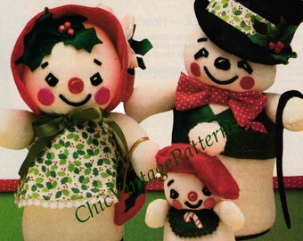 Snowman Family ... Christmas Pattern ... Christmas PDF Pattern ... Soft Toy Doll Pattern ... Sewing Pattern ... Instant Download
