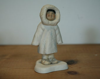 Alaskan Native Porcelain Figurine - Alaska Inuit Statue Rosy Cheeks - Alaska Porcelain Statue