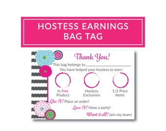 Thirty-One Consultant Bag Tag You Have Helped Your Hostess Earn Bubble Bloom and Grey Wave Design