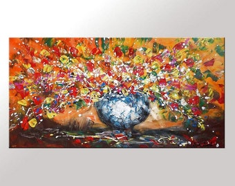Flower Painting, Large Abstract Art, Large Art, Canvas Art, Living Room Art, Large Abstract Painting, Original Painting, Large Oil Painting