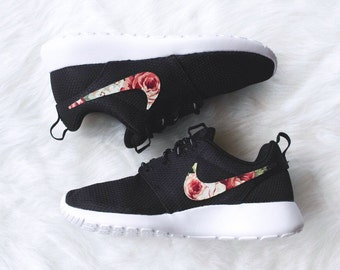 Floral Nike Roshe Run Custom Black White Roses MEMORIAL DAY