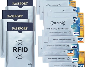 RFID Blocking Sleeves (3x Passport 10x Credit Card) ID Protector Security Sleeve Shield Anti Theft Identity