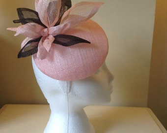 Pink and Black Sinamay Button Beret