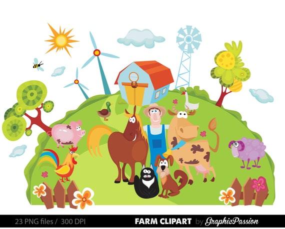 Farm Animals Clip Art Farm Clipart Farm Animal Vectors Barn