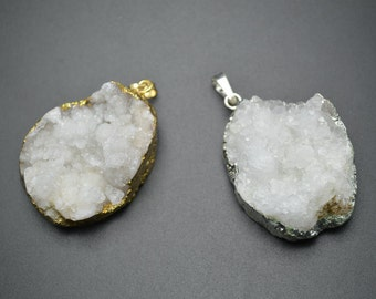 1 pc Unique Gold color or Silver color Plating Freeform Natural White Druzy Geode Agate Stone Pendant DIY Jewelry making supplies