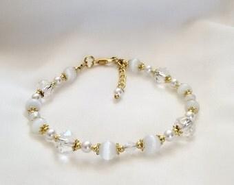 Opal Bracelet  - Opal Crystal Pearl Bracelet - October Birthstone Bracelet -