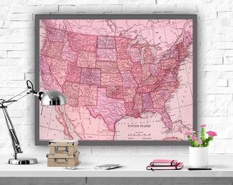United States Map Art Print Map Decor USA Map Oink Decor Instant Download Map Poster America Map Printable Home Decor Poster