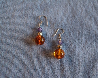 Amber, amethyst and silver bead pierced earrings