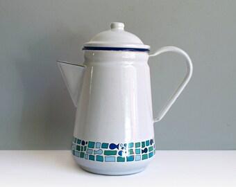 Vintage enamel pot jug canister Mid Century Germany Shabby