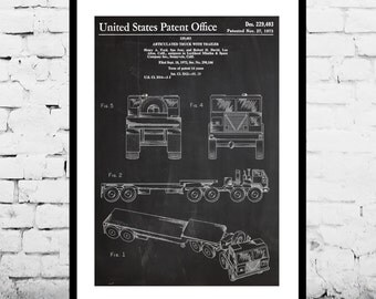 Truck Poster, Truck Patent, Truck Print, Truck Art, Truck Decor, Truck Blueprint, Truck Driver Poster