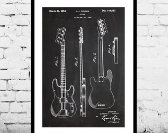 Fender Bass Guitar Poster,Fender Bass Guitar Patent,Fender Bass Guitar Decor, Fender Bass Guitar Print, Fender Bass Guitar Blueprint, Fender