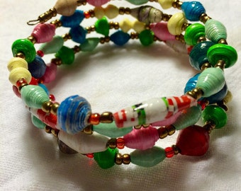 Multicolored Coiled Paper Bead Bracelet