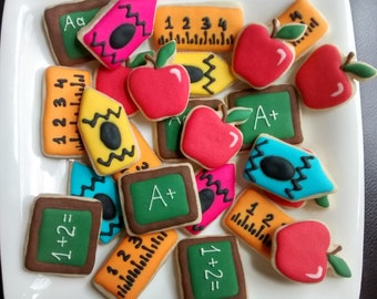 School,teacher appreciation ,back to school mini sugar cookies with royal icing,chalkboard, crayon, ruler,apple