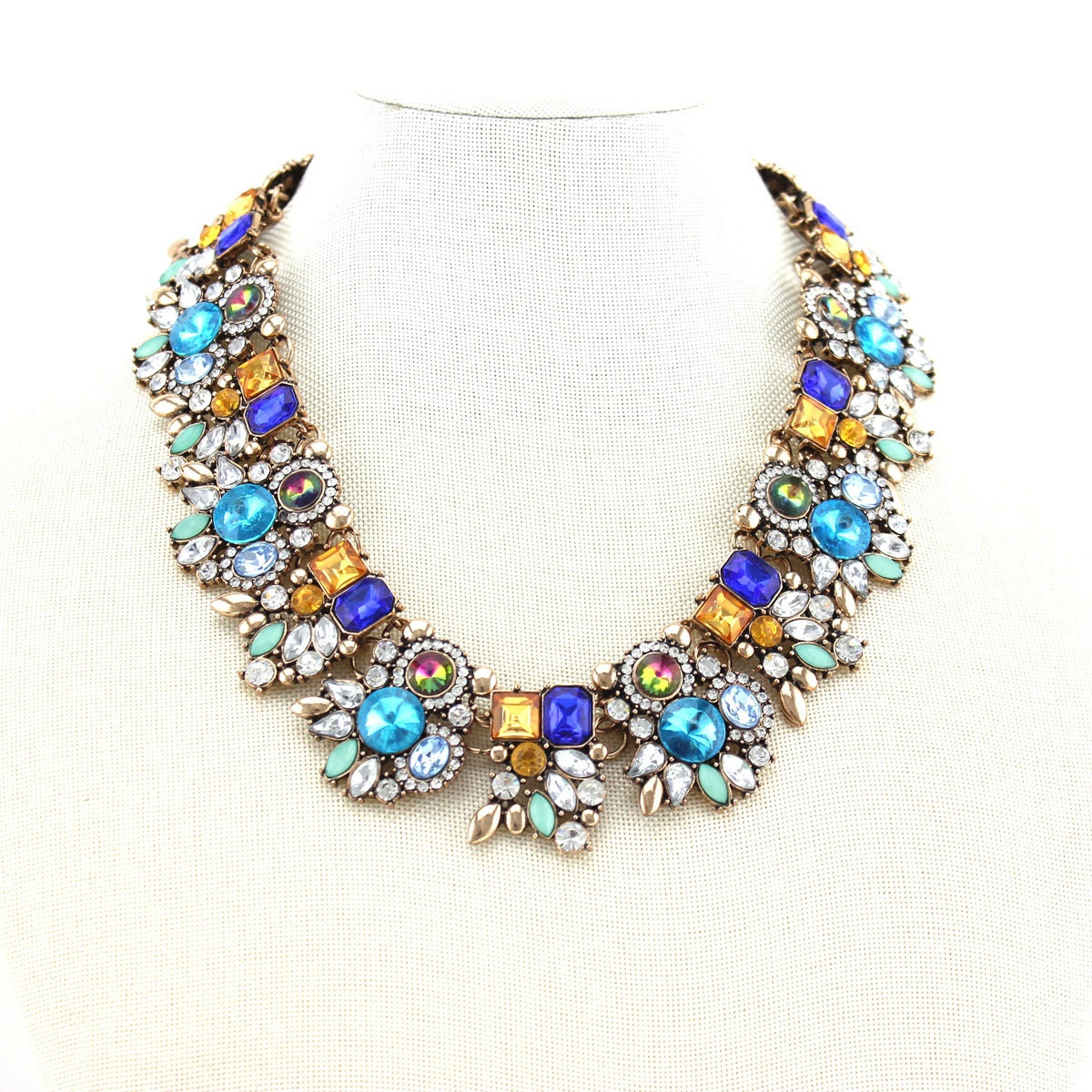statement necklace multi colored necklace bib by zucir