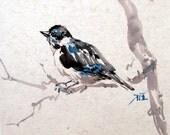 Asian brush ink art, Peagon art, Animal painting, Bird card, Birthday card, Original painting, Wall art, Decor art, Pet, art