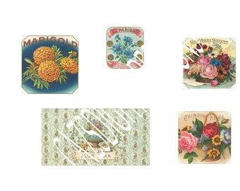 A4 vintage flower labels x5