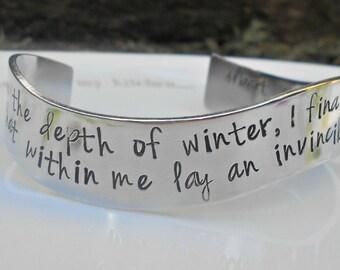 Albert Camus Bracelet|Invincible Summer|Depth of Winter|Gifts for Her|Survivor Jewelry|Albert Camus Jewelry|Friend Gift|Hand Stamped Cuff