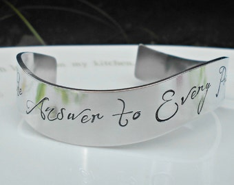 Romantic Quote Bracelet, Custom Hand Stamped Silver Bracelet, You're the Answer to Every Prayer I ever said,  Anniversary Gift, Wife Gift.