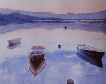 Boats at 'Sunny Corner' on the Truro river in Cornwall at sunset. A limited edition Giclee print from my original watercolour painting.
