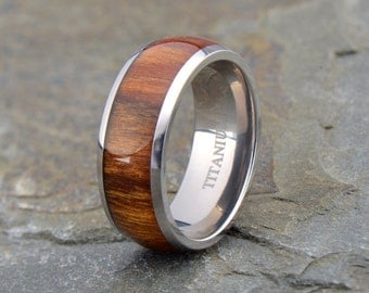 Wooden Ring, Titanium Ring, Domed Ring, Mens Wedding Band, Titanium Wooden Ring, Mens Wooden Ring, Wedding Ring, Wedding Rings, Personalized